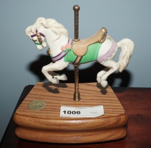 NUMBERED MUSICAL BISQUE PORCELAIN CAROUSEL HORSE FIGURINE, THE AMERICAN CAROUSEL BY TOBIN FRALEY - LIV