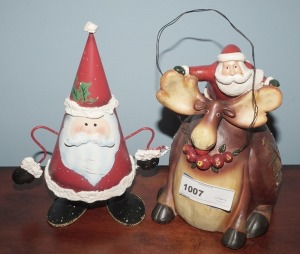 PAIR OF COMICAL SANTA CLAUS FIGURINES INCLUDING SPRING LOADED METAL - LIV