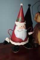 PAIR OF COMICAL SANTA CLAUS FIGURINES INCLUDING SPRING LOADED METAL - LIV - 2