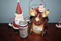 PAIR OF COMICAL SANTA CLAUS FIGURINES INCLUDING SPRING LOADED METAL - LIV - 7
