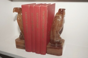 MARBLE EAGLE BOOKENDS AND VINTAGE CLASSIC BOOKS - LIV