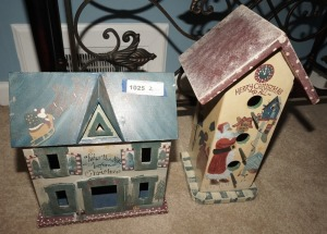 MERRY CHRISTMAS 3 LEVEL DECORATIVE BIRDHOUSE AND LARGE METAL BODY TWAS THE NIGHT BEFORE CHRISTMAS CHRISTMAS FIGURE - LIV