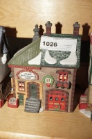 DEPARTMENT 56 SNOW VILLAGE FIGURES ON TOP SHELF MARKED 1026 - LIV - 5