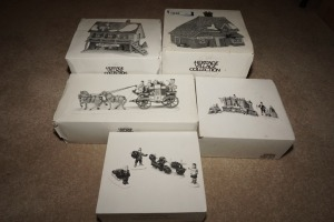 FIVE DEPARTMENT 56 HERITAGE VILLAGE COLLECTION FIGURINES WITH BOXES - LIV