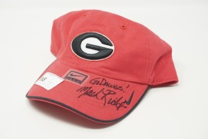 AUTOGRAPHED UNIVERSITY OF GEORGIA FOOTBALL HAT, MARK RICHT - LIV