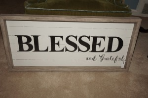 LARGE DECORATIVE SHADOW BOX WITH RUSTIC FRAME, BLESSED AND GRATEFUL - LIV