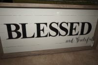 LARGE DECORATIVE SHADOW BOX WITH RUSTIC FRAME, BLESSED AND GRATEFUL - LIV - 2