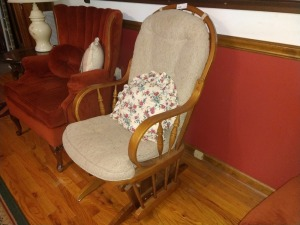 WOODEN STYLE GLIDE ROCKER WITH CUSHION