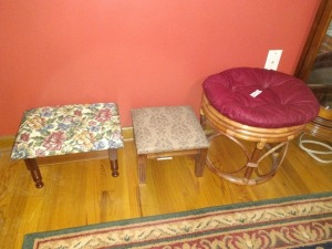 PADDED FOOT STOOLS, SET OF THREE ALSO INCLUDES ONE RATTAN STYLE