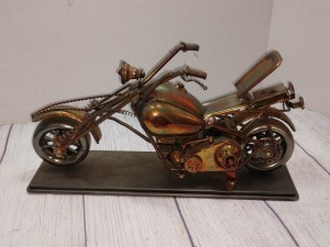 COPPER COLOR / TIN METAL SCULPTURE, CHOPPER MOTORCYCLE, PLAYS TOYLAND TUNE, HAS BOX