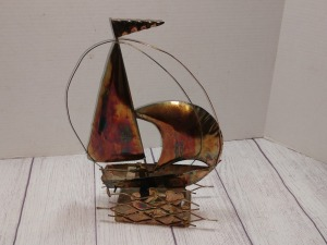 COPPER COLOR TIN METAL SCULPTURE, SAILBOAT ON THE WATER, BERKELEY DESIGN