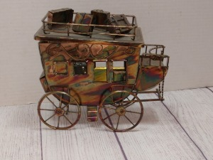 COPPER COLOR TIN METAL SCULPTURE, STAGECOACH THEME MUSIC BOX