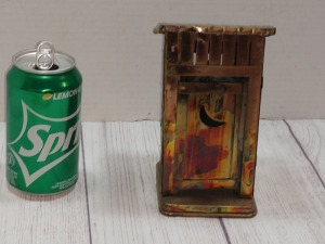 COPPER COLOR TIN METAL SCULPTURE, OUTHOUSE THEME, DOOR OPENS AND CLOSES WHILE PLAYING, BERKELEY DESIGN