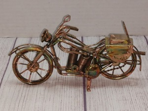 COPPER COLOR TIN METAL SCULPTURE, MOTORCYCLE THEME NOT A MUSIC BOX