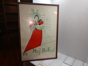 MAY BELAFORT POSTER PRINTED IN THE NETHERLANDS BY EDWARD A COURT A PARIS PRINTER, REPLICA OF ORIGINAL ARTIST PAINTING BY HENRI DE TOULOUSE LAUTREC