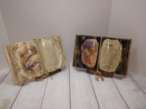 SET OF TWO BOOKS OF LOVE WITH WOODEN STANDS