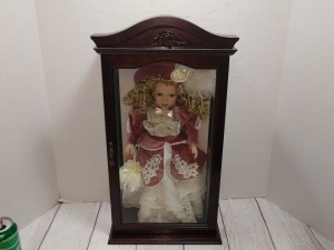 CAMELLIA GARDENS 16-IN GENUINE PORCELAIN DOLL, COMES IN WOODEN DISPLAY CASE