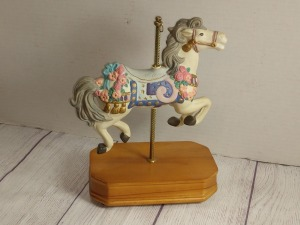 CAROUSEL HORSE ON WOODEN BASE, PLAYS CAROUSEL WALTZ