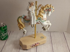 WESTLAND SINGLE CAROUSEL HORSE WITH RIDER MUSIC BOX, PLAYS UNCHAINED MELODY, WRITER'S HEAD IS BROKEN OFF BUT CAN BE REATTACHED