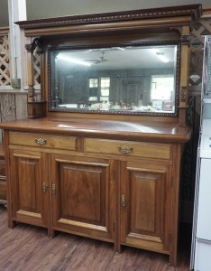 VINTAGE SOLID WOOD MIRROR BACK BUFFET