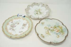 3 ANTIQUE HAND-PAINTED DECORATIVE PLATES WITH HANGERS INCLUDING LS&S LIMOGES FRANCE, BILSTEIN GERMANY, AND FS PRUSSIA