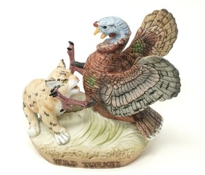 WILD TURKEY LIMITED EDITION PORCELAIN WILD TURKEY AND BOBCAT NUMBER 2 MINI BOTTLE FIGURINE