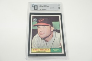 1961 TOPPS DAVE PHILLEY BASEBALL CARD, GAI GRADED NM-MT 8