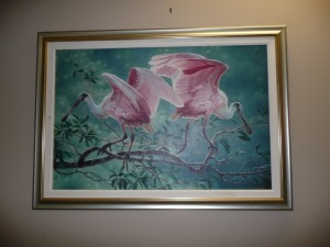 BEAUTIFUL ROSEATE SPOONBILLS PRINT ON CANVAS NUMBERS 17 OF 95 BY DEE SMITH