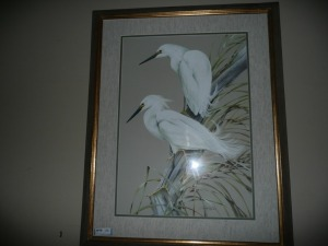 NICELY FRAMED ART LAMAY WATERCOLOR OF SNOWY EGRETS