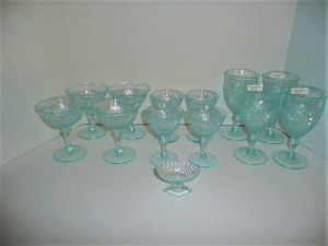 LOT OF ANTIQUE ICE BLUE ENGLISH HOBNAIL GLASSWARE