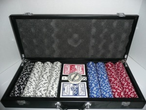 VERY NICE CASE OF POKER CHIPS CARDS AND DICE