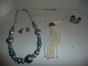 LOT OF CHICO COSTUME JEWELRY NECKLACES PAIR OF EARRINGS AND BRACELET
