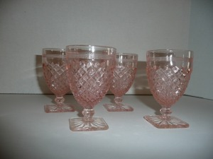 VINTAGE MISS AMERICA PINK DEPRESSION GLASS FOUR JUICE GLASSES