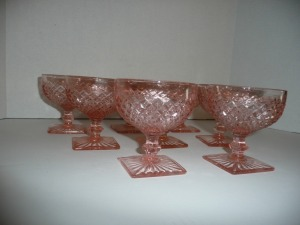 VINTAGE MISS AMERICA PINK DEPRESSION GLASS 8 GLASSES
