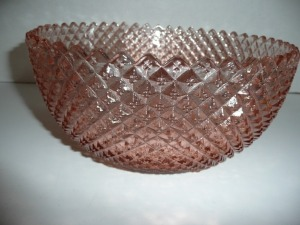 VINTAGE MISS AMERICA PINK DEPRESSION GLASS LARGE BOWL