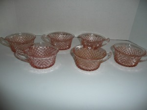 VINTAGE MISS AMERICA PINK DEPRESSION GLASS 6 CUPS