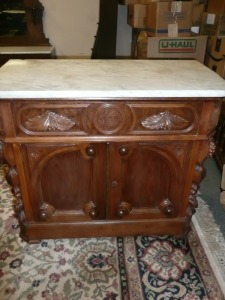 ANTIQUE ORNATE HANDLE WALNUT MARBLE-TOP WASHSTAND