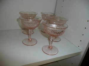 VINTAGE MISS AMERICA PINK DEPRESSION GLASS LOT OF 5 CHAMPAGNE GLASSES