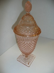 VINTAGE MISS AMERICA PINK DEPRESSION GLASS TALL COVERED CANDY DISH