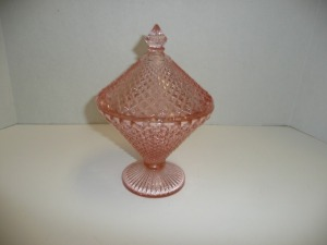 VINTAGE MISS AMERICA PINK DEPRESSION GLASS COVERED CANDY DISH