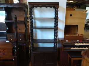 BEAUTIFUL 4 SHELF UNIT,ALL WOOD,HAS LOWER CABINET,VERY PRETTY SPINDLES,15X32X80TALL