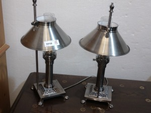 SET OF TWO 18-IN UNIQUE METAL LAMPS