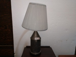 27-IN TALL UNIQUE METAL LAMP, PATTERN HAS ABC AND 123 SEE PICTURES