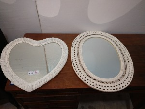 SET OF TWO UNIQUE WALL MIRRORS, ONE HEART-SHAPED AND ONE OVAL, SEE PICTURES FOR MEASUREMENTS