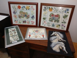 SET OF FIVE VARIOUS NEEDLE POINT ARTWORK