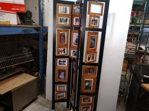 VERY NICE THREE SECTION ROOM DIVIDER PICTURE HOLDER, 32-IN X 66-IN HIGH