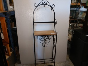 VERY NICE WINE RACK WITH WOODEN TOP AND METAL FRAME, 9-IN X 17-IN X 60-IN HIGH