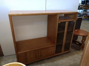 VERY NICE ENTERTAINMENT STAND WITH GLASS DOORS IN PLENTY OF STORAGE SPACE, 20-IN X 60-IN X 49-IN HIGH
