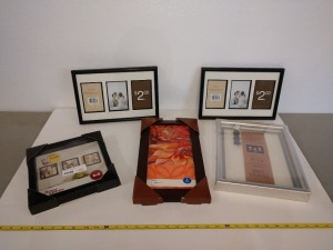 SET OF FIVE VARIOUS SIZE PICTURE FRAMES, SEE PICTURES FOR DETAIL