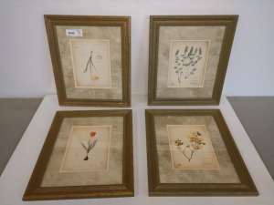 SET OF FOUR VERY PRETTY FLORAL ARTWORK